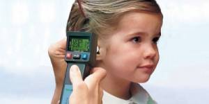 Tympanometry test done on an young child